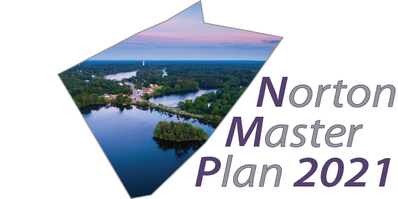 "The Logo for the Norton Master Plan 2020. A drone shot of the Norton Reservoir is inlaid within the town boundary. To the right is the rext ""Norton Master Plan 2020."""