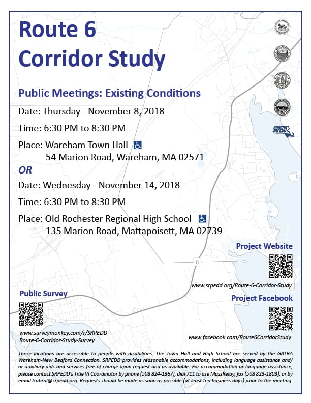 A meeting notice for Route 6 Corridor Study Public Meetings for Existing Conditions