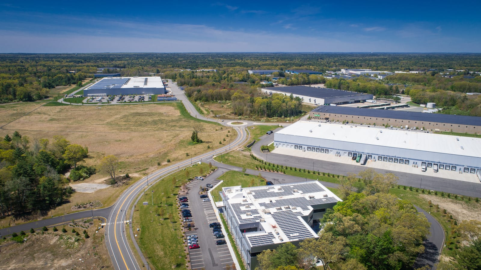 Drone photo of Taunton's Myles Standish Industrial Park Phase V Expansion.