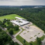 Drone photo of the Wareham John Decas School in Wareham, MA.