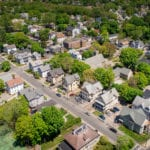 A drone photo of multi-family housing in North Attleborough, MA.