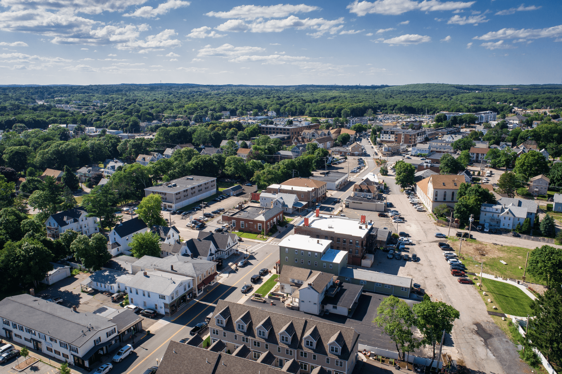 Drone photo of Downtown Mansfield, MA.