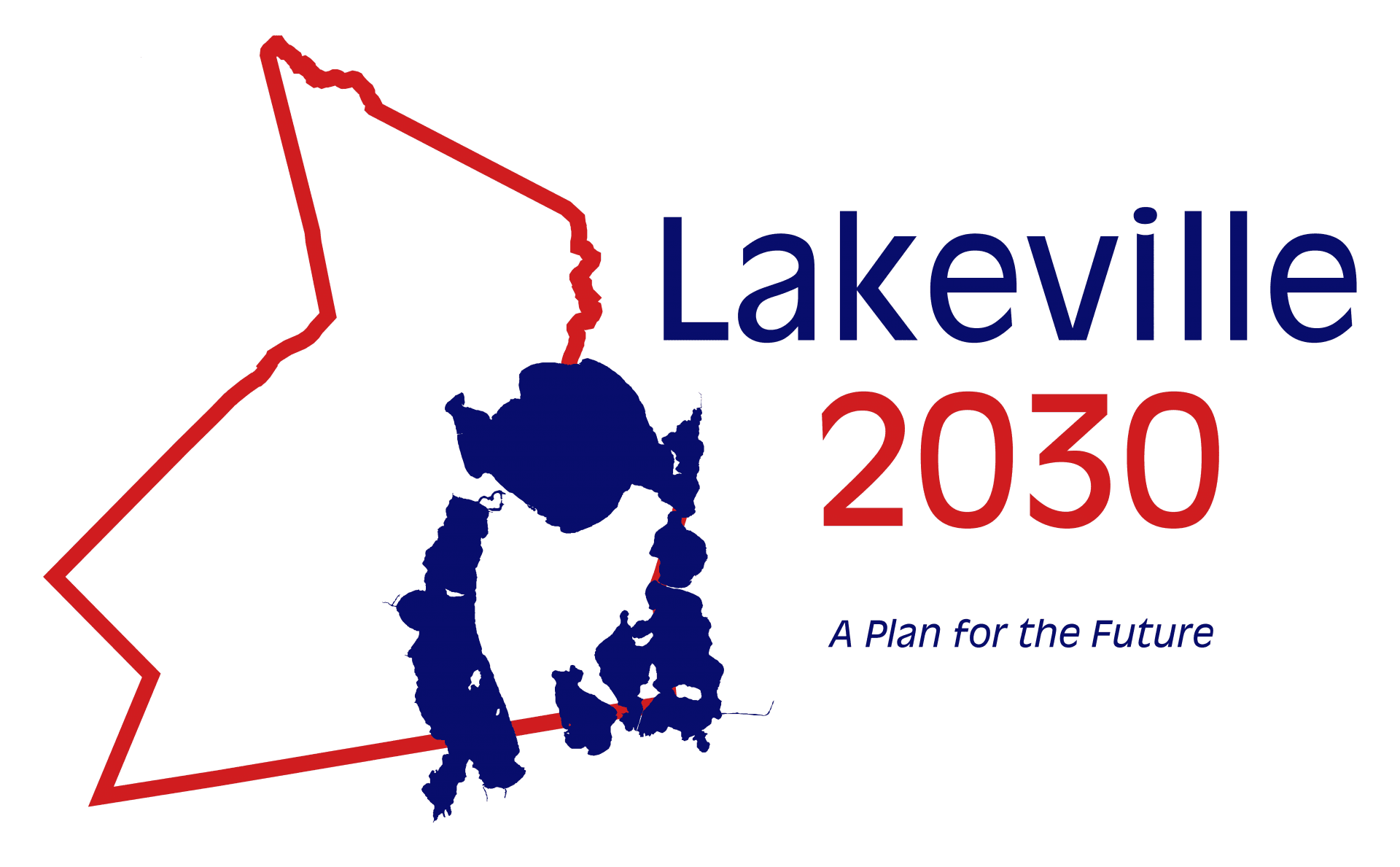 "Lakeville Master Plan Logo, a red outline of Lakeville overlayed with Lakeville's signature lakes in blue. The text ""Lakeville 2030"" is to the right of the outline of the town."
