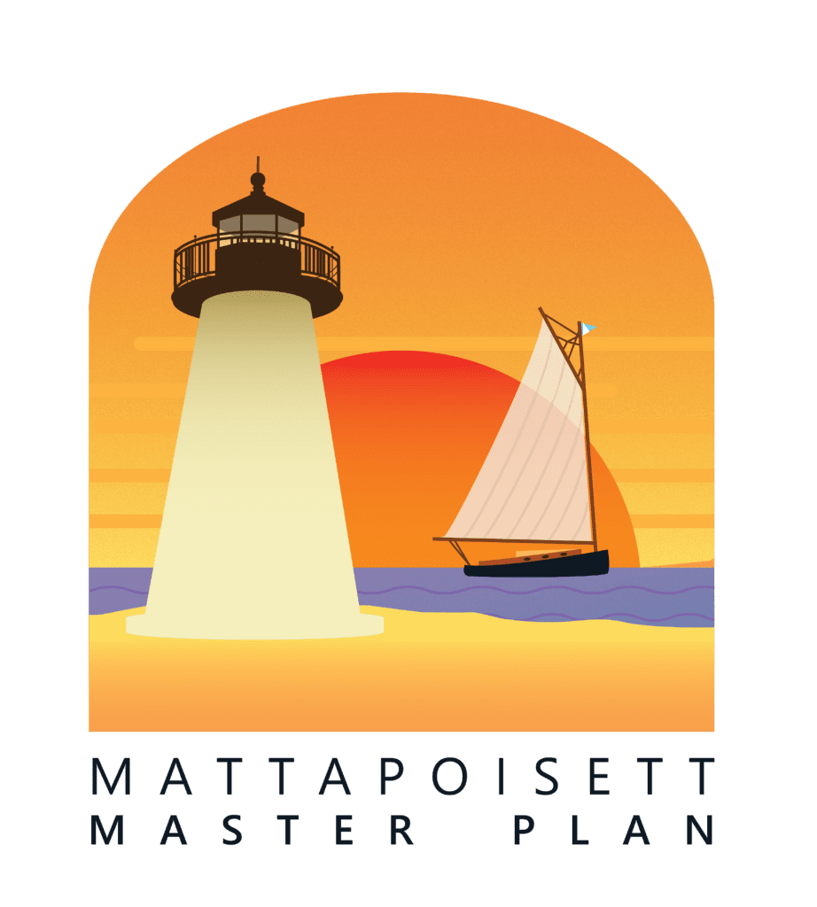 "The Mattapoisett Master Plan logo. A graphic rendering of Ned's Point Lighthouse sits to the left in the foreground. In the background, a vintage catboat sits on a purple sea. The sun is deep orange and setting against a yellow sky. The text ""Mattapoisett Master Plan"" sits below this scene."