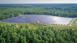 A drone photo of a solar array on Crystal Spring Road in Matttapoisett.