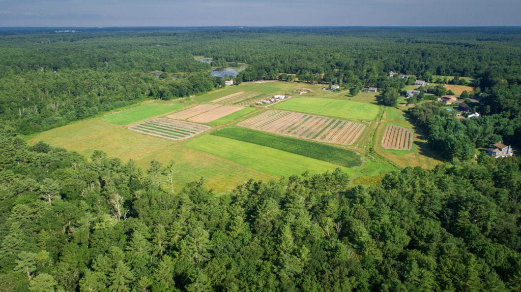 A drone photo of agriculture in northern Mattapoisett.