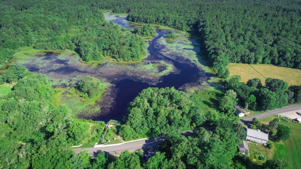 A drone photo of the Mattapoisett River.