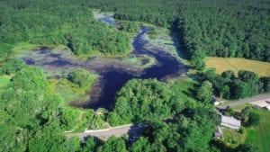 A drone photo of the Mattapoisett River.