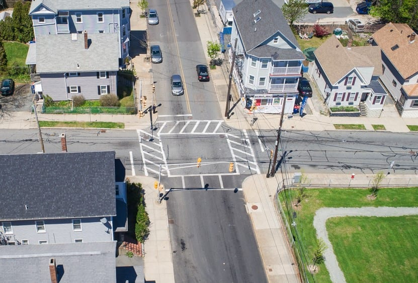 Overhead shot of a signalized intersection in New Bedford