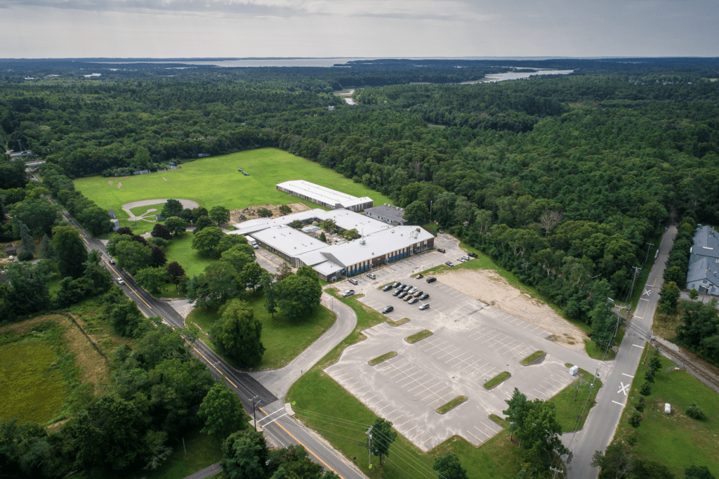 Drone photo looking southeast at the John Decas School in Wareham.