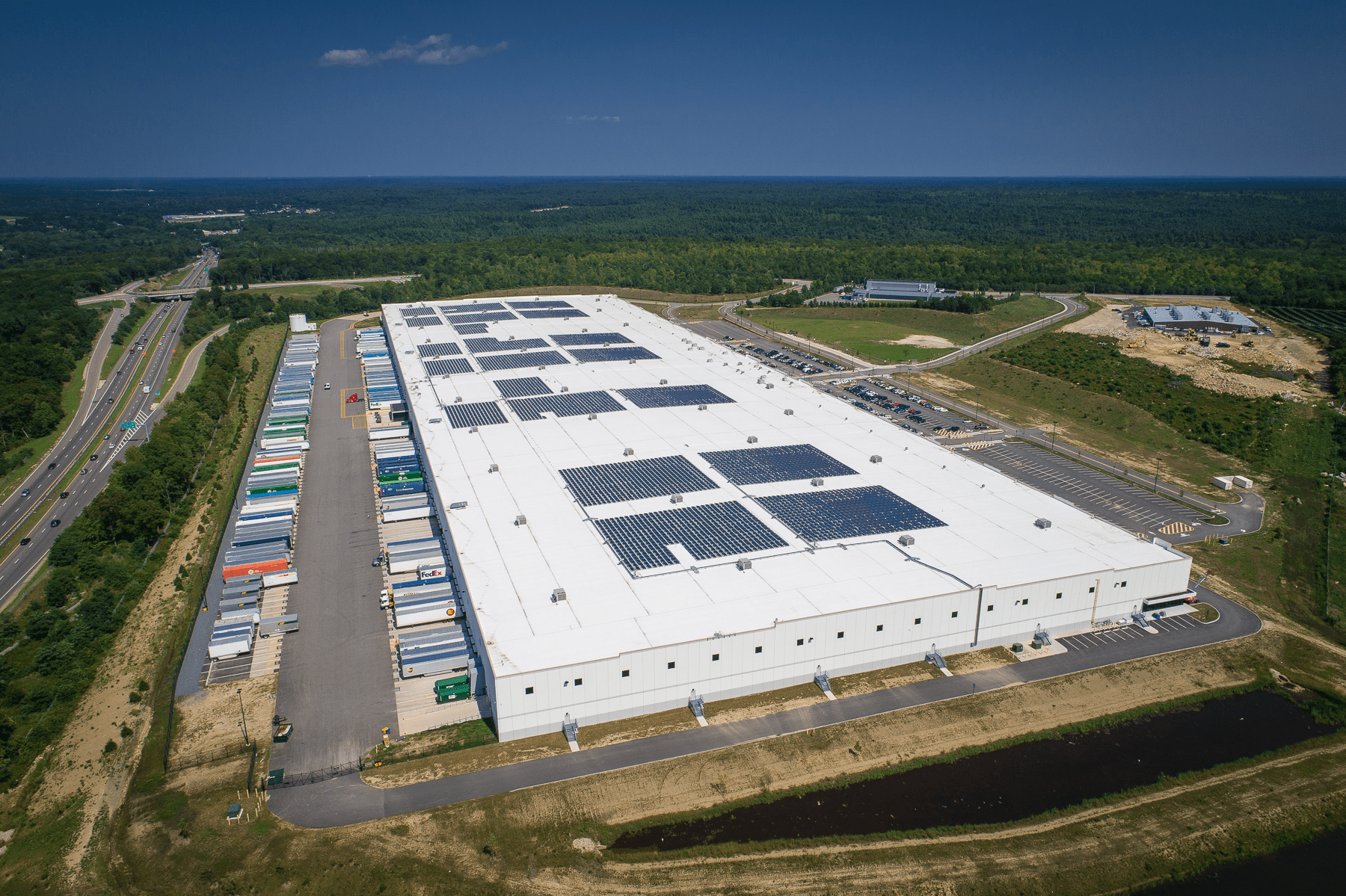 A drone photo of the Amazon facility in Fall Rive and Freetown.