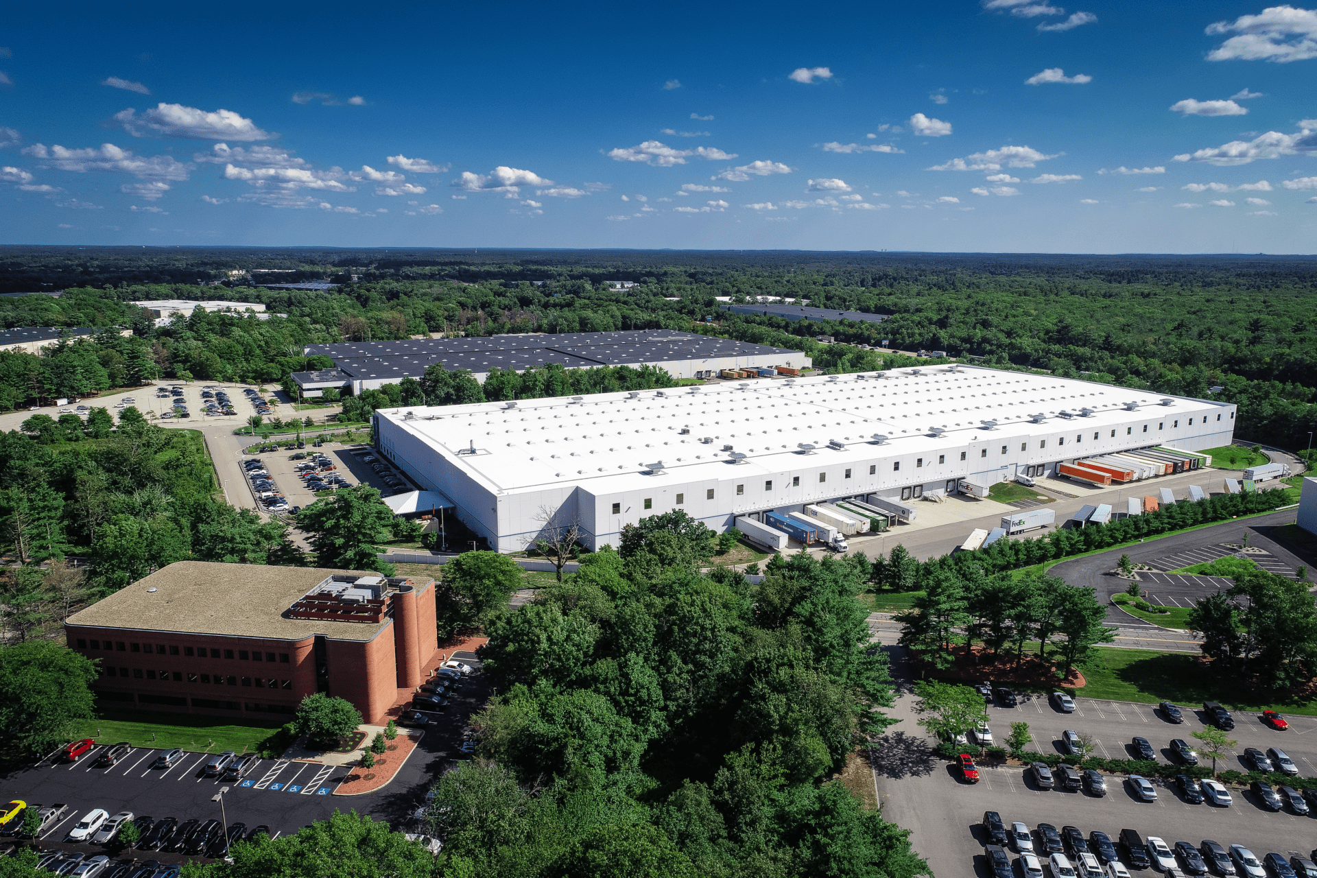 A drone photo of Cabot Business Park in Mansfield, MA.