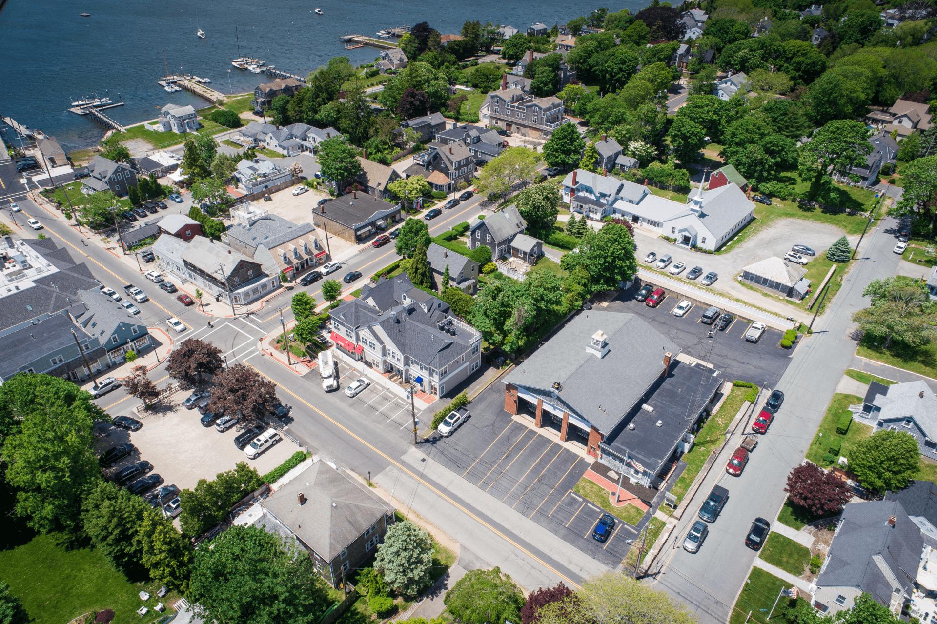 A drone photo of Padanaram Village in Dartmouth.
