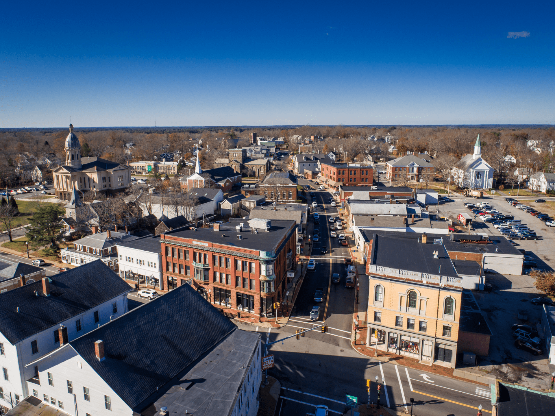 Drone photo of Middleborough's Downtown for the Town's Marketing Guide.