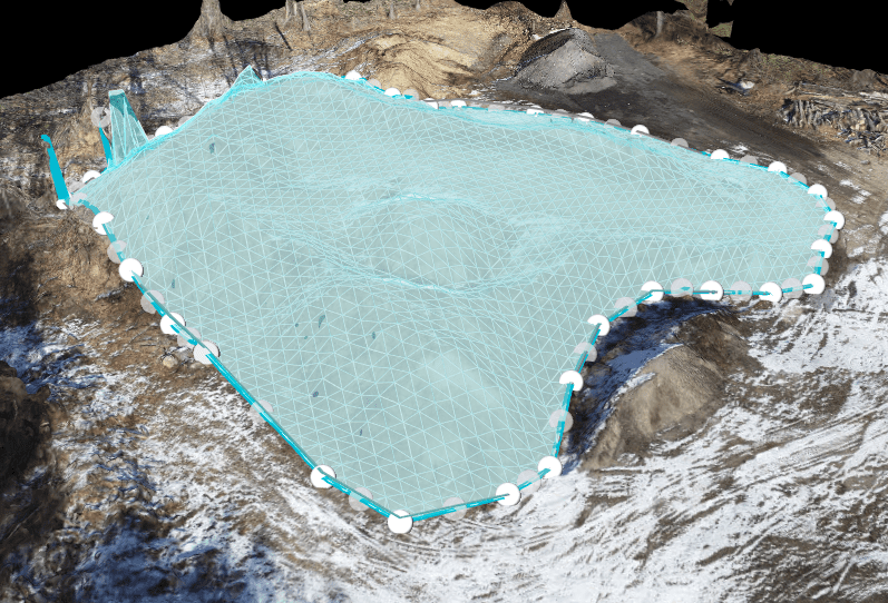 3d measurement overlay of spoil pile