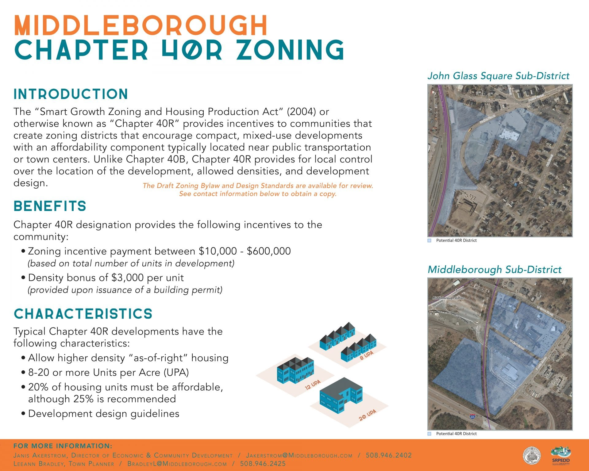 Informational poster about the 40R zoning adoption process for Middleborough
