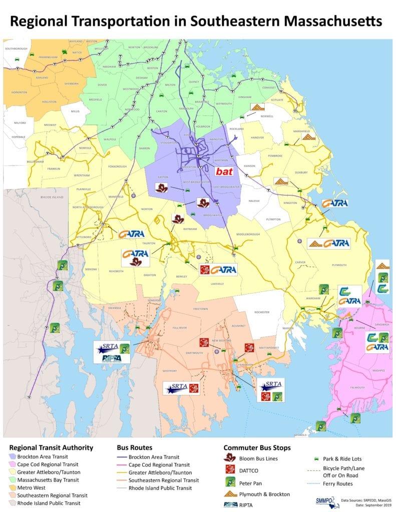 Regional Transportation Map in Southeastern Massachusetts
