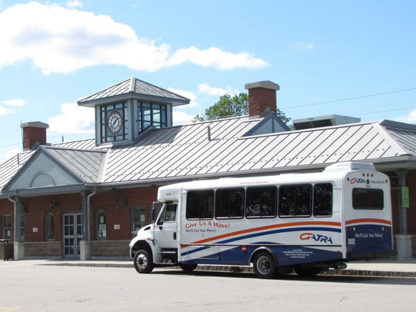 picture of GATRA bus at mansfield MBTA station