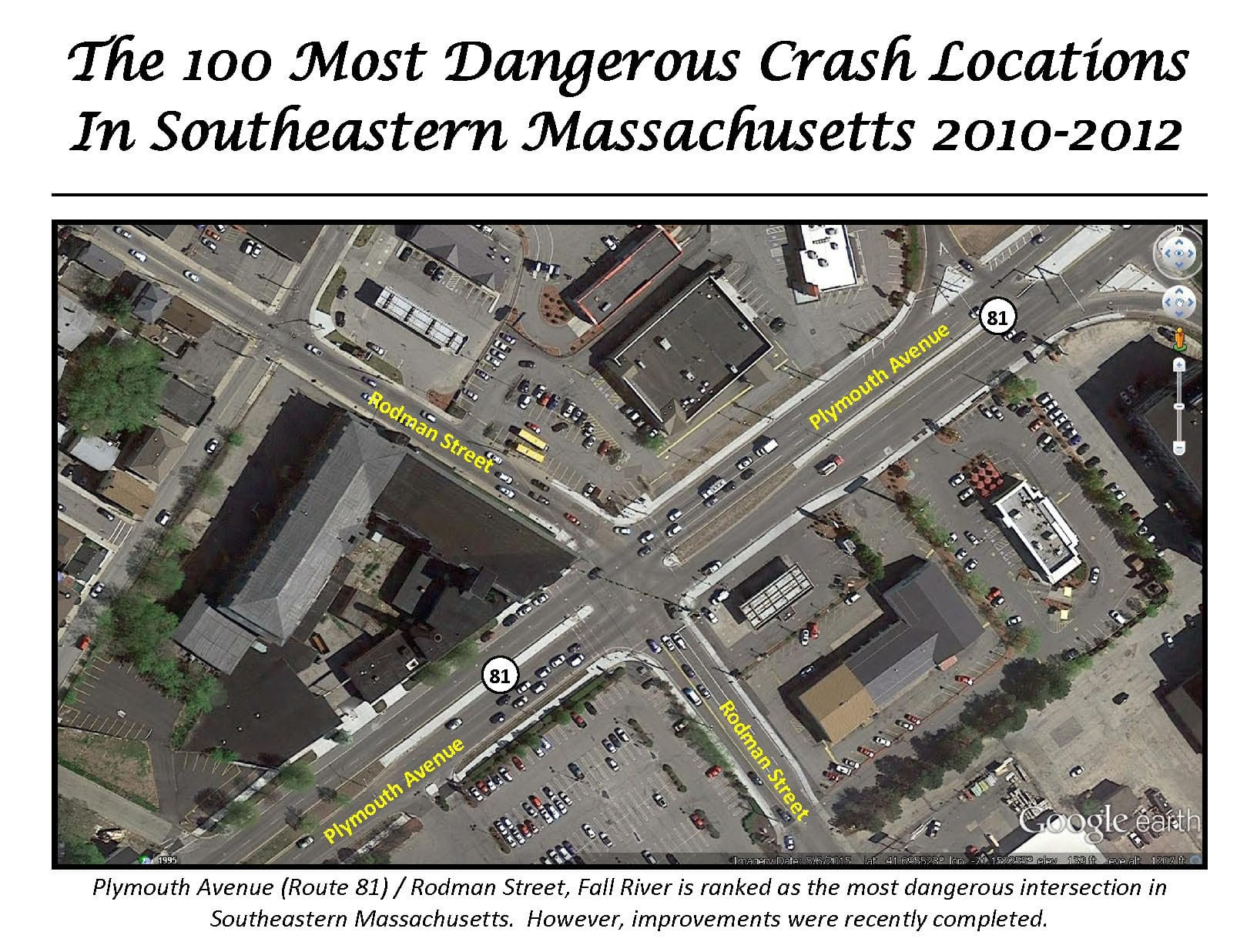 This is an image of the top 100 most dangerous intersections from 2010-2012