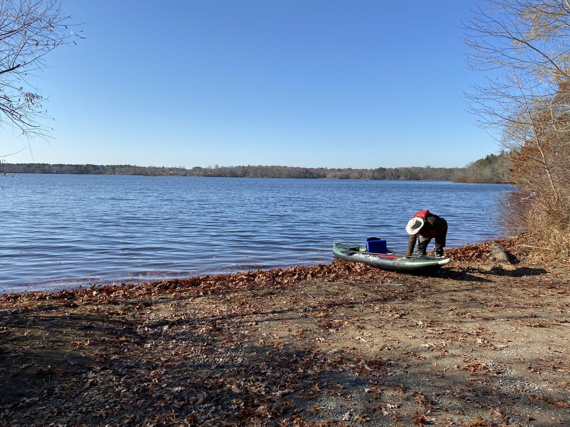 Norton Reservoir Juniper Road kayaker preparing to disembark into the reservoir
