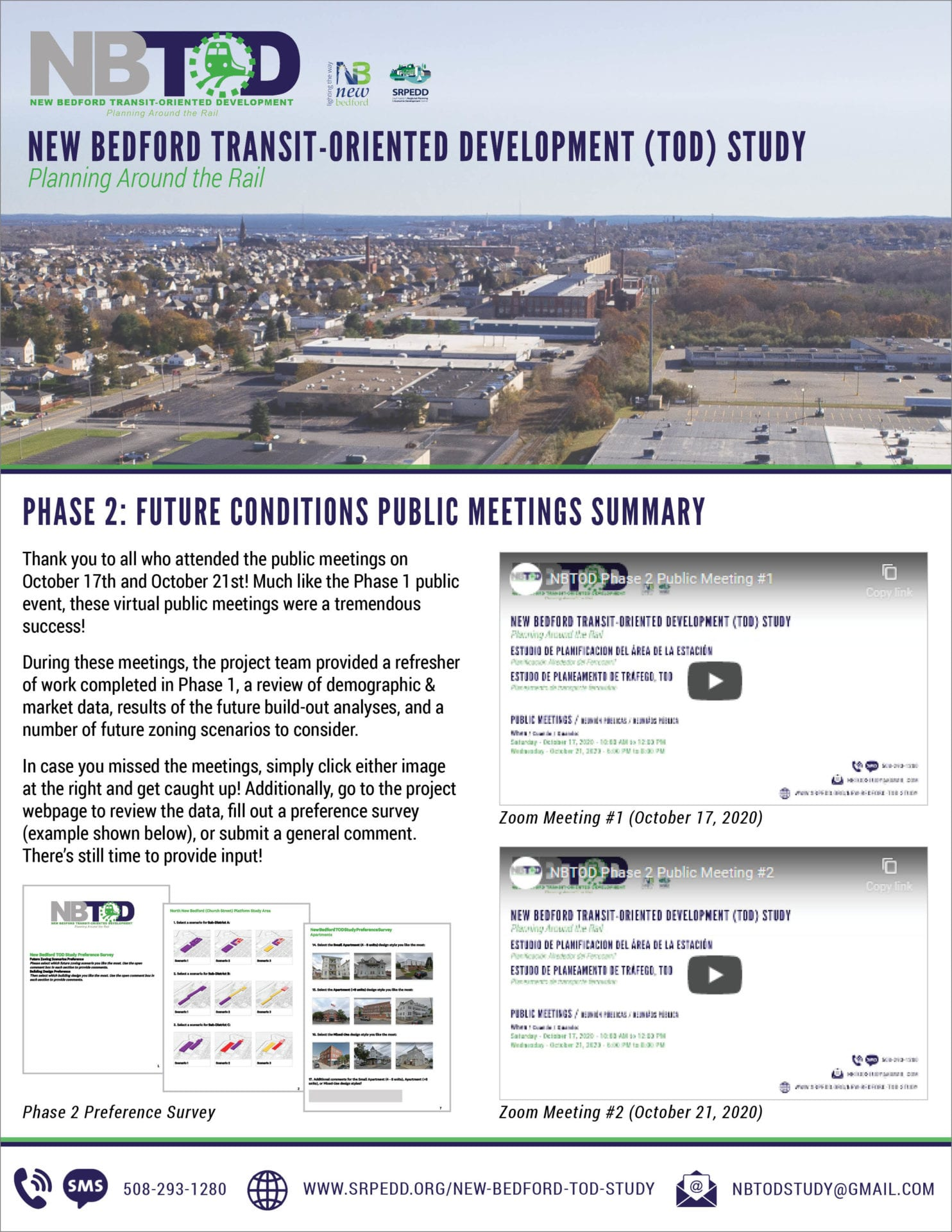 A summary document of the New Bedfort TOD Study Phase 2A public meetings held in October 2020.