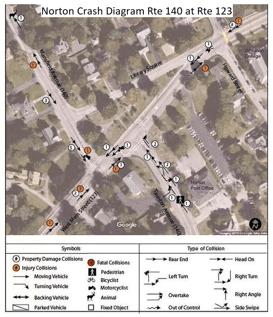 Norton Crash Diagram for Intersection of Route 140 and Route 123