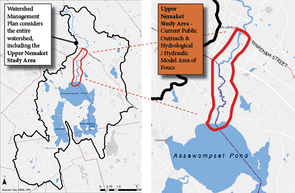 Two maps clarifying the study area of the APC Managamanet Plan versus the Upper Nemaket River Study Area
